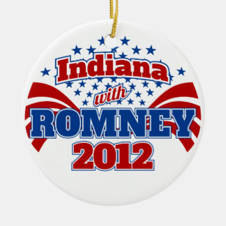 Indiana with Romney 2012 Round Ceramic Ornament