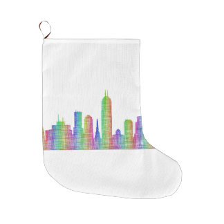 Indianapolis city skyline large christmas stocking