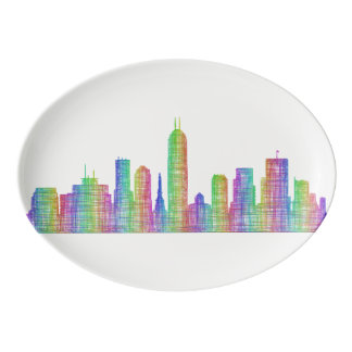 Indianapolis city skyline porcelain serving platter
