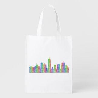 Indianapolis city skyline reusable grocery bag