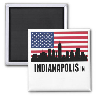 Indianapolis IN American Flag Magnet