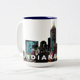 Indianapolis in graffiti Two-Tone coffee mug