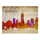 Indianapolis, IN | Watercolor City Skyline Postcard