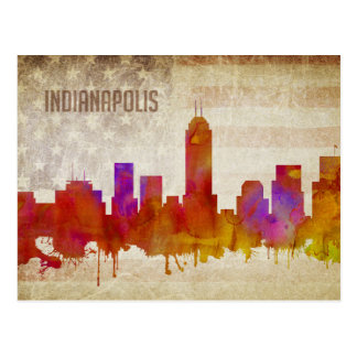 Indianapolis, IN   Watercolor City Skyline Postcard
