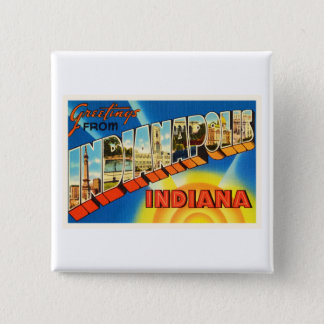 Indianapolis Indiana IN Vintage Travel Souvenir 2 Inch Square Button