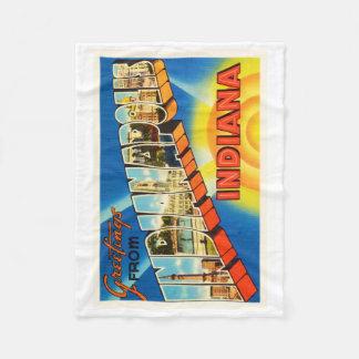 Indianapolis Indiana IN Vintage Travel Souvenir Fleece Blanket