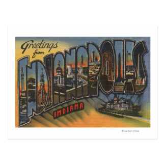 Indianapolis, Indiana - Large Letter Scenes Postcard