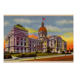 Indianapolis, Indiana State House circa 1930 Poster