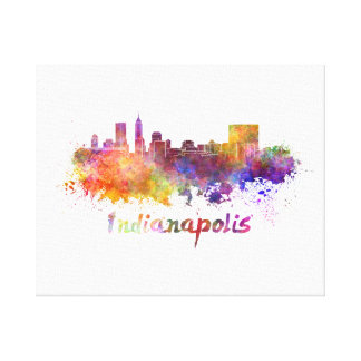 Indianapolis skyline in watercolor canvas print