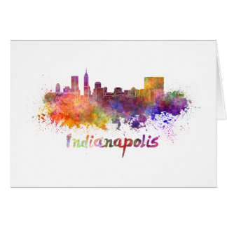 Indianapolis skyline in watercolor card