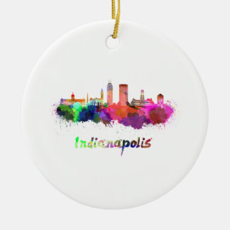 Indianapolis skyline in watercolor ceramic ornament