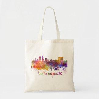 Indianapolis skyline in watercolor tote bag