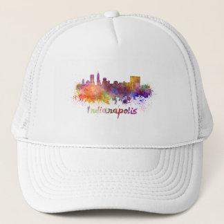 Indianapolis skyline in watercolor trucker hat