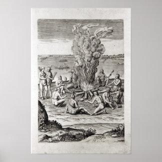 Indians praying around a fire, engraving poster