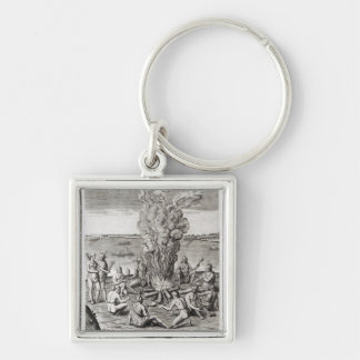 Indians praying around a fire, engraving Silver-Colored square keychain