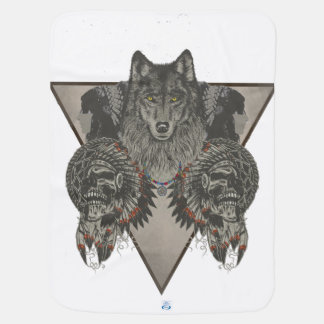 Indians Skull and Wolf Design Baby Blanket