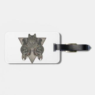 Indians Skull and Wolf Design Bag Tag