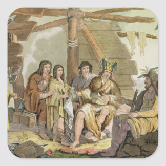 Indians trading with La Perouse in Canada (colour Sticker