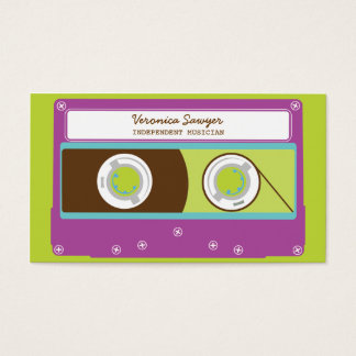 Indie Mixtapes Retro 80s Cassette Tape Pattern Business Card