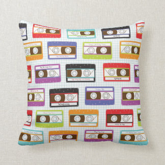 Indie Mixtapes Retro 80s Cassette Tape Pattern Throw Pillow