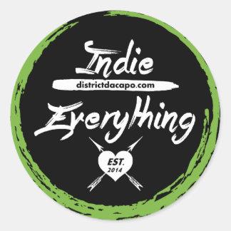 Indie Over Everything Round Sticker