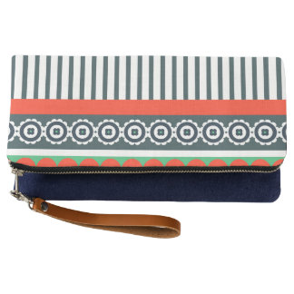 Indie Pattern Fold Over Clutch with Stripes