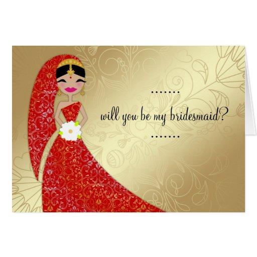 Indien fleuri de brune d'Updo de robe du henné 311 Carte De Vœux