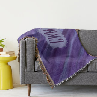 Indifferent Decor | Monogram Purple Violet Lilac | Throw Blanket