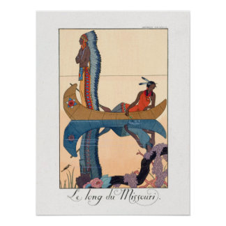 indigenous couple in a canoe poster