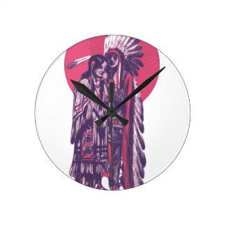 Indigenous Rez Love Round Clock