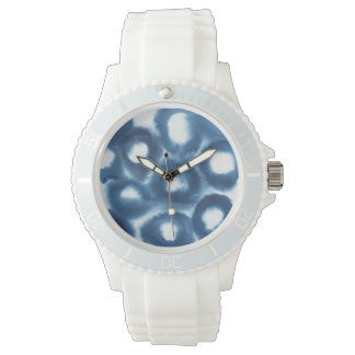 Indigio Watercolor Print Circles Wristwatches