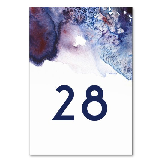 Indigo Agata Crystals Watercolor Table Number