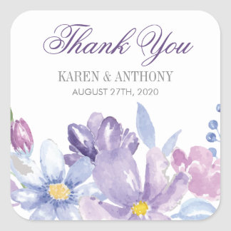 Indigo and Lavender Watercolor Flowers Wedding Square Sticker