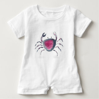 Indigo and Pink Crab Baby Romper