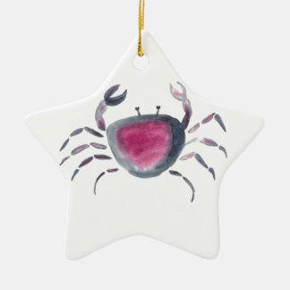 Indigo and Pink Crab Ceramic Ornament