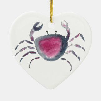 Indigo and Pink Crab Ceramic Ornament