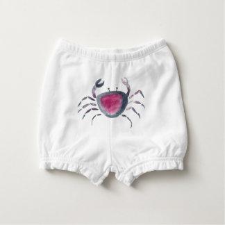 Indigo and Pink Crab Diaper Cover