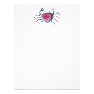 Indigo and Pink Crab Letterhead