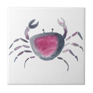 Indigo and Pink Crab Tile