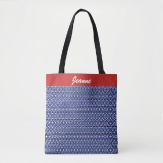 Indigo and White Geometric Design Tote Bag