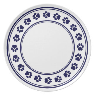 Indigo and White Paw Print Melamine Plate