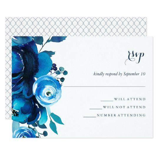 Indigo Bloom Floral Watercolor Wedding RSVP Card