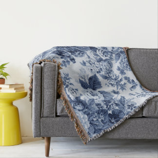 Indigo Blu Tone Black & White Vintage Floral Toile Throw Blanket