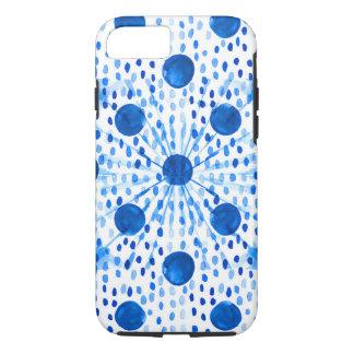 Indigo Blue Abstract Circles Blue Drops Boho-Style iPhone 8/7 Case