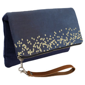 Indigo Blue and Gold Confetti Casual Clutch