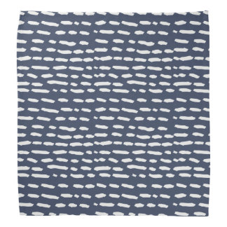 Indigo Blue and Grey Dash - Brushstroke - Bandana