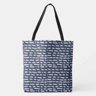 Indigo Blue and Grey Dash - Tote Bag