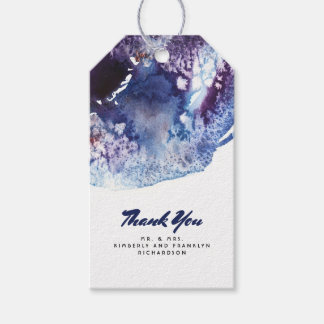 Indigo Blue and Purple Crystal Modern Watercolor Pack Of Gift Tags