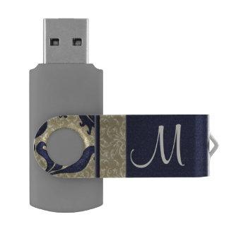 Indigo Blue and Taupe Damask   Monogrammed Flash Swivel USB 2.0 Flash Drive