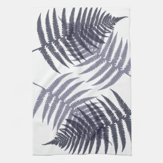 Indigo Blue and White Tropical Tree Fern Print Kitchen Towel